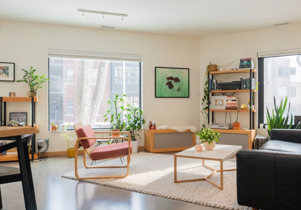 modern tables and chairs, youthful colorful room